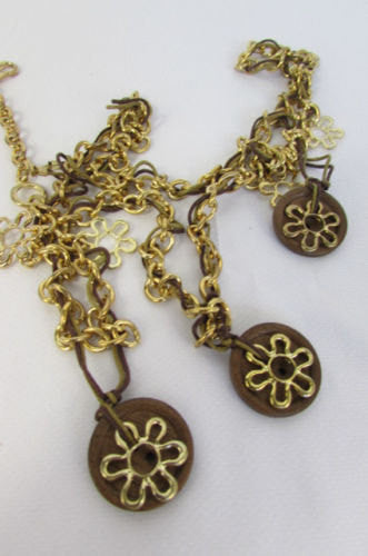 New Women Gold Metal Chains Flowers Fashion Necklace Round Brown Wood Charms - alwaystyle4you - 5