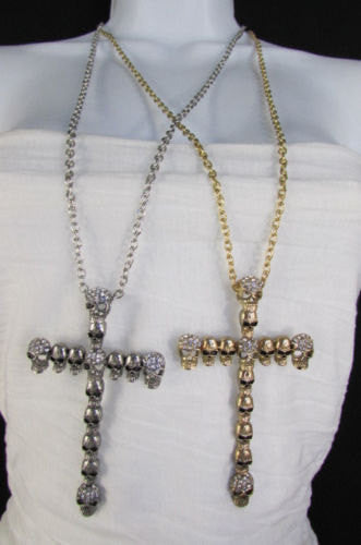 New Women Fashion Necklace Metal Mini Skulls Big Cross Silver / Gold Rhinestones - alwaystyle4you - 4