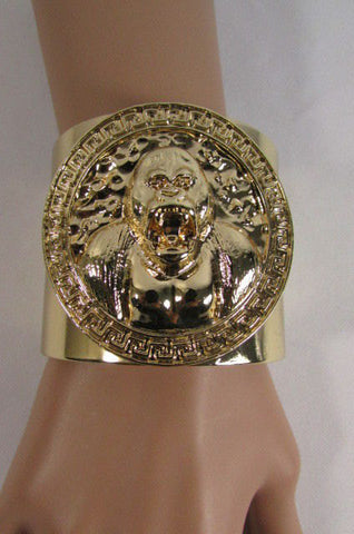 Gold Meta Cuff Bracelet Big Round Gorilla Medallion New Women Fashion Jewelry Accessories - alwaystyle4you - 1