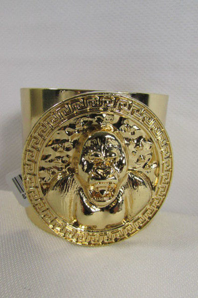 Gold Meta Cuff Bracelet Big Round Gorilla Medallion New Women Fashion Jewelry Accessories - alwaystyle4you - 4