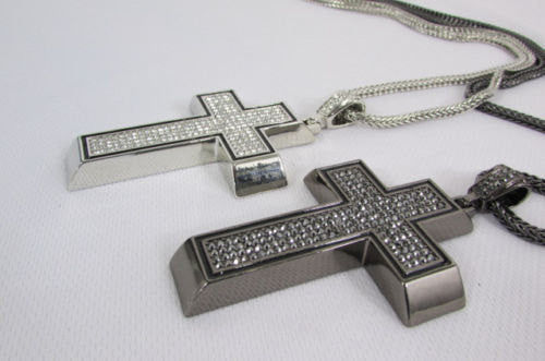 Pewter / Silver Metal Chains Long Necklace Boarded Cross Pendant New Men Hip Hop Fashion - alwaystyle4you - 3