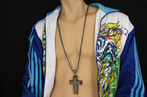 Pewter / Silver Metal Chains Long Necklace Boarded Cross Pendant New Men Hip Hop Fashion - alwaystyle4you - 5