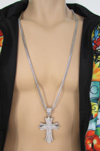 "Silver / Gold Metal Chain 35"" Long Fashion Necklace  Large Cross Pendant New Men - alwaystyle4you - 1"