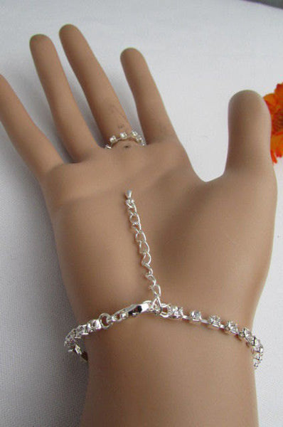 New Women Silver Bracelet Hand Chain Mayan Alian UFO Rhinesones Fashion Jewelry Slave Chain - alwaystyle4you - 3