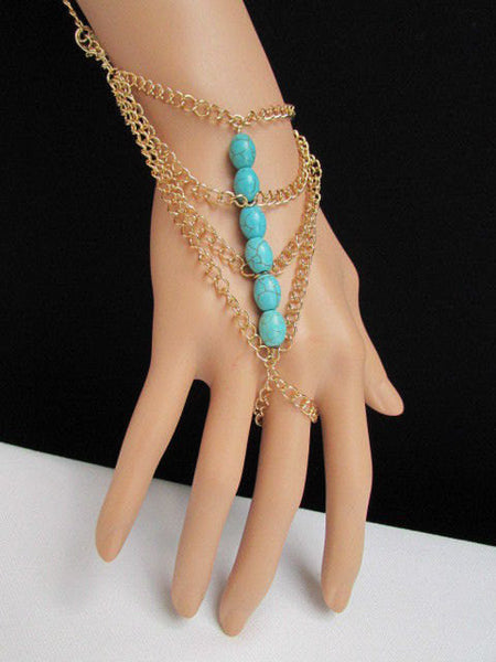 New Women Gold Fashion Bracelet Multi Strands Sky Blue & Red Beads Salve Chain Chunky Style - alwaystyle4you - 5
