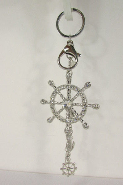 Silver Metal Key Chain Wallet Charm Nautical Sea Anchore Big Ship Wheel Women Men Accessories