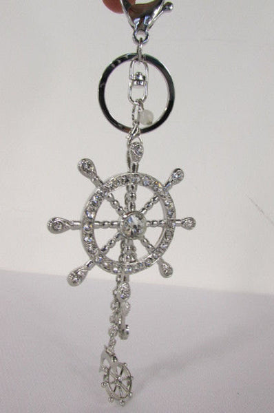 Silver Metal Key Chain Wallet Charm Nautical Sea Anchore Big Ship Wheel  New Women Men Fashion Jewelry Rhinestones Charm - alwaystyle4you - 12