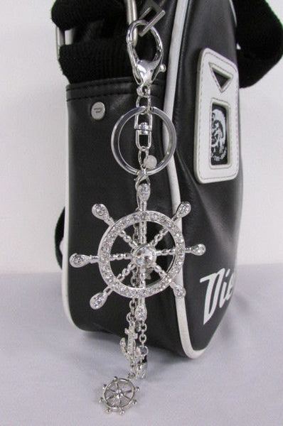 Silver Metal Key Chain Wallet Charm Nautical Sea Anchore Big Ship Wheel  New Women Men Fashion Jewelry Rhinestones Charm - alwaystyle4you - 1