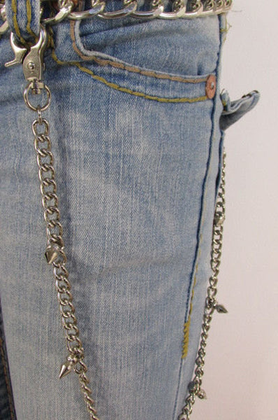 Silver Metal Long Wallet Multi Studs Mini Spikes Jeans Chains KeyChain Punk Rocker Trucker Biker New Men Style - alwaystyle4you - 4