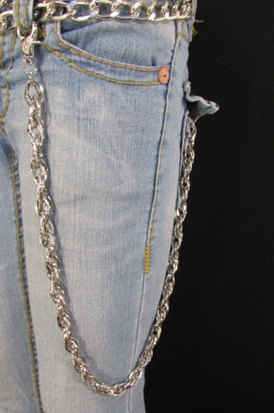"Silver Metal 29"" Extra Long Wallet Multi Chains Jeans KeyChain Punk Rocker Biker Trucker Fashion Heavy Duty Strong Triple Chains New Men - alwaystyle4you - 1"