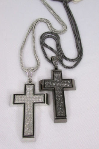 Pewter / Silver Metal Chains Long Necklace Boarded Cross Pendant New Men Hip Hop Fashion - alwaystyle4you - 2