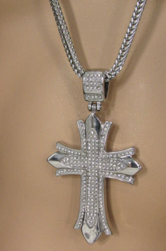 "Silver Gold Metal Chain 35"" Long Necklace Large Cross Pendant New Men Fashion Accessories"