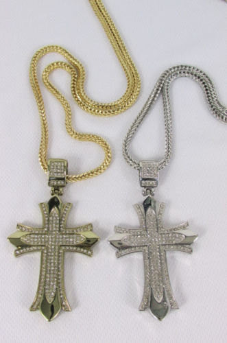 "Silver / Gold Metal Chain 35"" Long Fashion Necklace  Large Cross Pendant New Men - alwaystyle4you - 3"