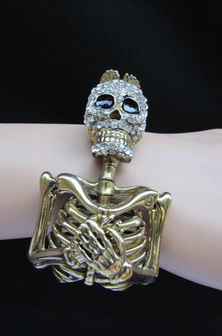 Gold Skeleton Cuff Bracelet Body Bones Halloween Style Fashion Jewelry New Women Accessories - alwaystyle4you - 1