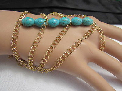 New Women Gold Fashion Bracelet Multi Strands Sky Blue & Red Beads Salve Chain Chunky Style - alwaystyle4you - 2