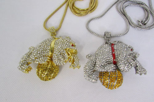 Gold / Silver Metal Chains Long Necklace Large Bulldog Ball New Men Style Fashion - alwaystyle4you - 4