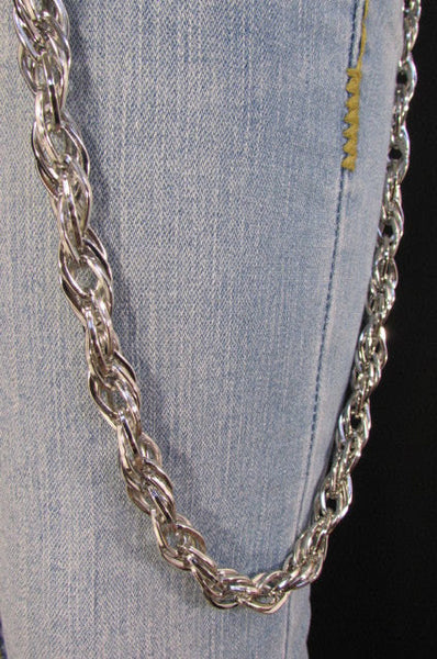 "Silver Metal 29"" Extra Long Wallet Multi Chains Jeans KeyChain Punk Rocker Biker Trucker Fashion Heavy Duty Strong Triple Chains New Men - alwaystyle4you - 4"