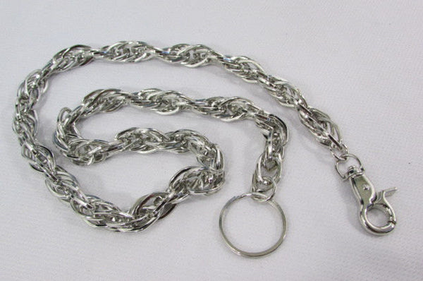 "Silver Metal 29"" Extra Long Wallet Multi Chains Jeans KeyChain Punk Rocker Biker Trucker Fashion Heavy Duty Strong Triple Chains New Men - alwaystyle4you - 3"
