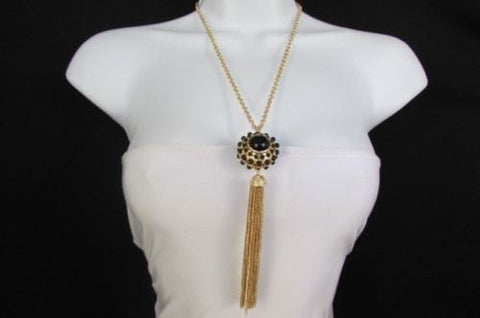 "Gold Metal Long Chains Big Ball Black Dots Fringe Fashion Necklace + Earrings Set New Women 26"" - alwaystyle4you - 1"