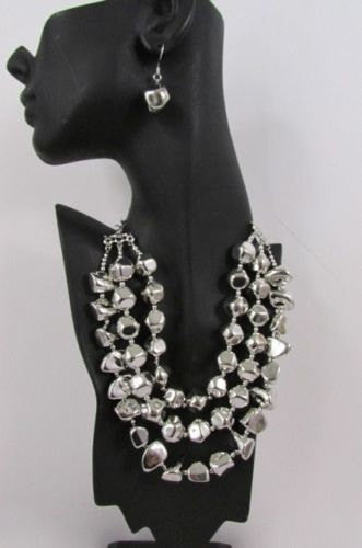Long Shiny Silver Plastic Beads 3 Strands Fashion Necklace + Earring Set New Women - alwaystyle4you - 2