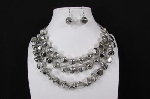 Silver Plastic Beads 3 Strands Long Shiny Necklace Earring Set New Women Fashion Accessories