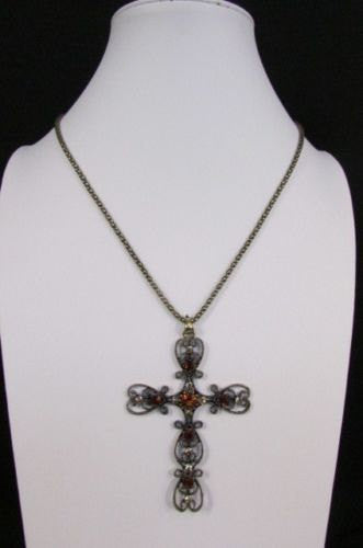 "New Women 24"" Long Gold Metal Chain Necklace Classic Cross Pendant Rhinestones - alwaystyle4you - 4"