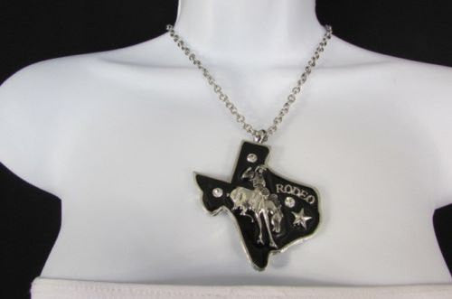 Long Silver Chains Big Black Texas Rodeo Horse Pendant Necklace + Earrings Set New Women - alwaystyle4you - 1