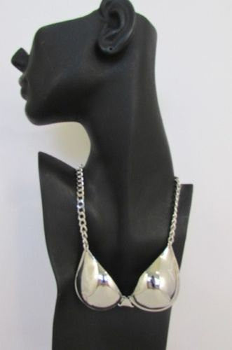 "New Women Mini Metal Bra Pendant 13"" Long Chains Fashion Necklace Gold / Silver - alwaystyle4you - 2"