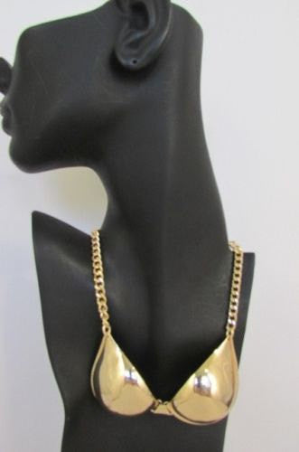 "New Women Mini Metal Bra Pendant 13"" Long Chains Fashion Necklace Gold / Silver - alwaystyle4you - 1"