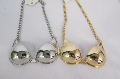 "New Women Mini Metal Bra Pendant 13"" Long Chains Fashion Necklace Gold / Silver - alwaystyle4you - 3"