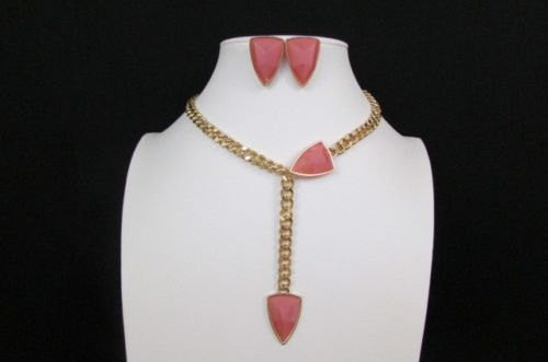 "Gold Metal Chains 16"" Long Big Pink Beads Necklace + Earrings Set New Women Fashion - alwaystyle4you - 3"