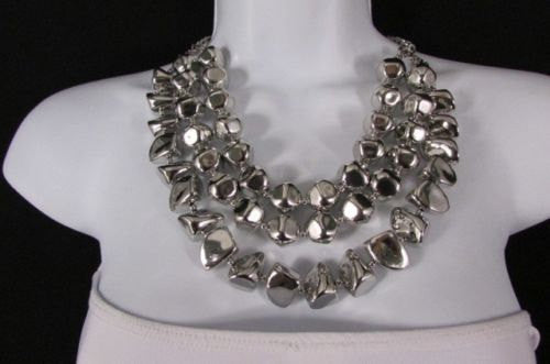 Long Shiny Silver Plastic Beads 3 Strands Fashion Necklace + Earring Set New Women - alwaystyle4you - 1