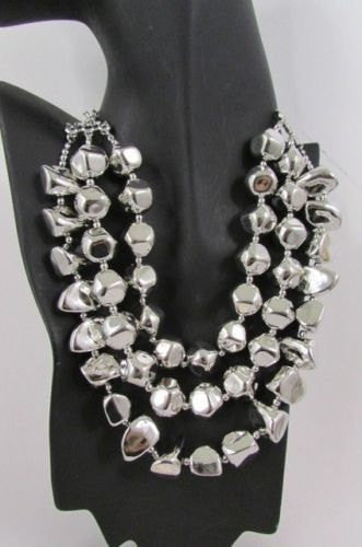 Long Shiny Silver Plastic Beads 3 Strands Fashion Necklace + Earring Set New Women - alwaystyle4you - 4