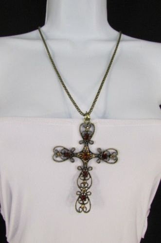 "New Women 24"" Long Gold Metal Chain Necklace Classic Cross Pendant Rhinestones - alwaystyle4you - 2"