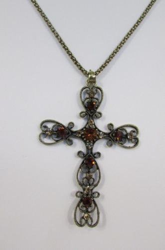 "New Women 24"" Long Gold Metal Chain Necklace Classic Cross Pendant Rhinestones - alwaystyle4you - 5"