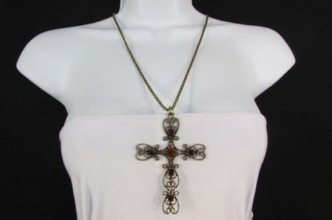 "New Women 24"" Long Gold Metal Chain Necklace Classic Cross Pendant Rhinestones - alwaystyle4you - 1"