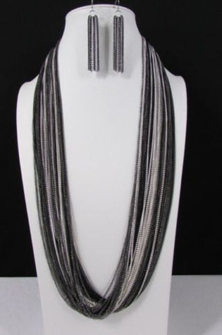 Silver Black / Antique Gold Thin Multi Chains Long Necklace + Earrings Set New Women Fashion - alwaystyle4you - 1