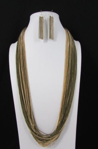 Silver Black / Antique Gold Thin Multi Chains Long Necklace + Earrings Set New Women Fashion - alwaystyle4you - 5