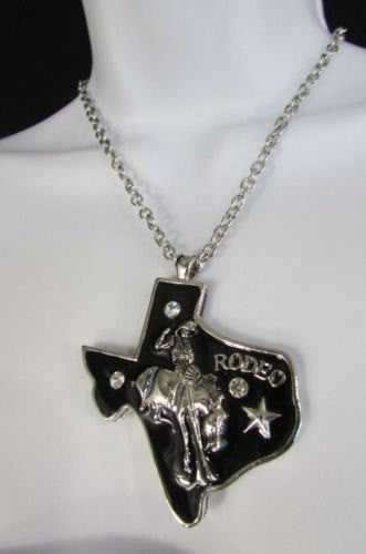 Long Silver Chains Big Black Texas Rodeo Horse Pendant Necklace + Earrings Set New Women - alwaystyle4you - 3