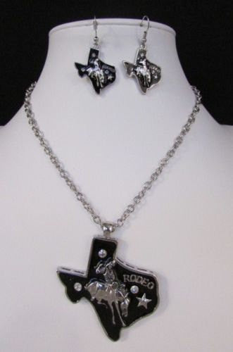 Long Silver Chains Big Black Texas Rodeo Horse Pendant Necklace + Earrings Set New Women - alwaystyle4you - 5