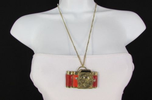 Old Fashion Collector Camera Red Orange Long Rusty Gold New Women Necklace - alwaystyle4you - 1