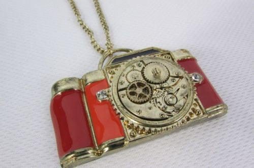 Old Fashion Collector Camera Red Orange Long Rusty Gold New Women Necklace - alwaystyle4you - 4