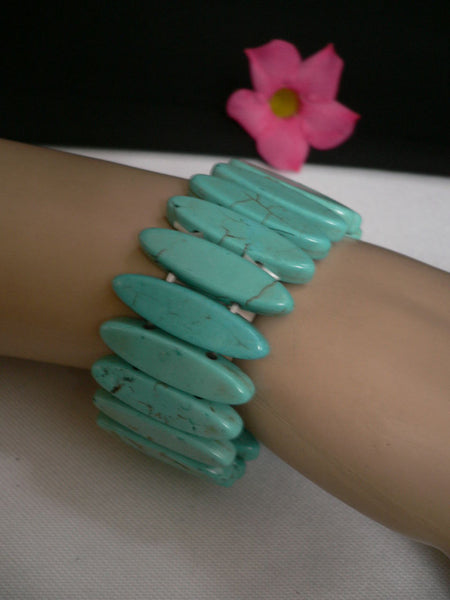 Light Sky Blue Turquoise Beads Stones Elastic Bracelet New Women Fashion Jewelry Accessories - alwaystyle4you - 2