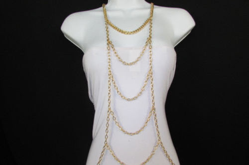 New Women Gold / Silver Body Chain Full Frontal Long Necklace Sexy Fashion Trendy Jewelry - alwaystyle4you - 1