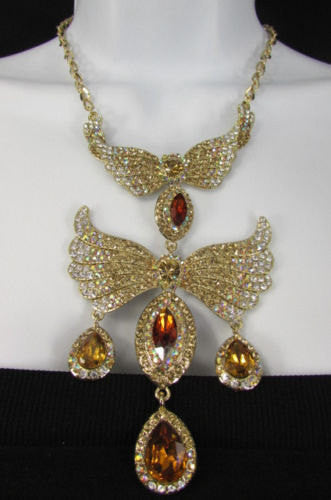 Metal Flying Wings Gold Silver Rhinestones Necklace + Earrings set New Women Fashion - alwaystyle4you - 5