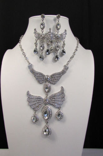 Metal Flying Wings Gold Silver Rhinestones Necklace + Earrings set New Women Fashion - alwaystyle4you - 3