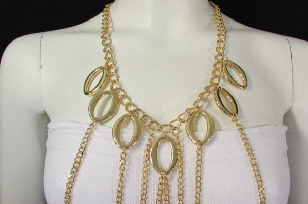 New Women Metal Front Waves Body Chain Fashion Jewelry Neck Draps Gold / Silver - alwaystyle4you - 4