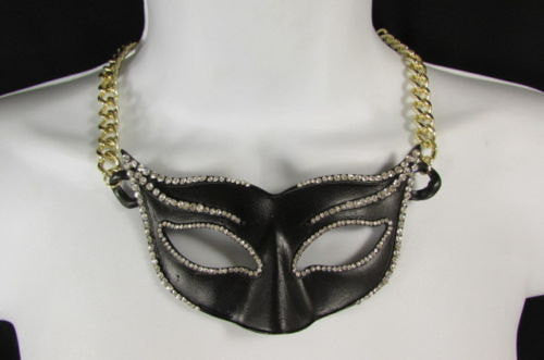 New Women Gold Metal Chain Black Venetian Face Mask Fashion Necklace Big Pendant - alwaystyle4you - 1