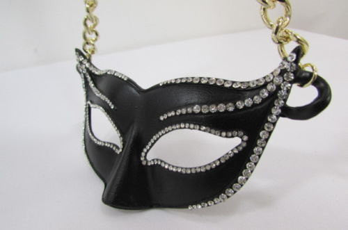 New Women Gold Metal Chain Black Venetian Face Mask Fashion Necklace Big Pendant - alwaystyle4you - 2