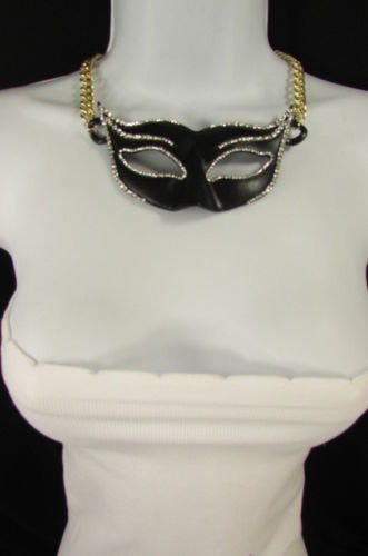 New Women Gold Metal Chain Black Venetian Face Mask Fashion Necklace Big Pendant - alwaystyle4you - 3